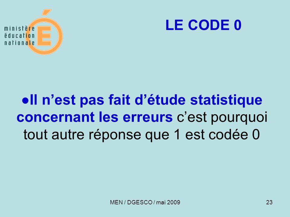 LE CODE 0 ●Il n'est pas fait d'étude statistique concernant les erreurs c'est pourquoi tout autre réponse que 1 est codée 0.