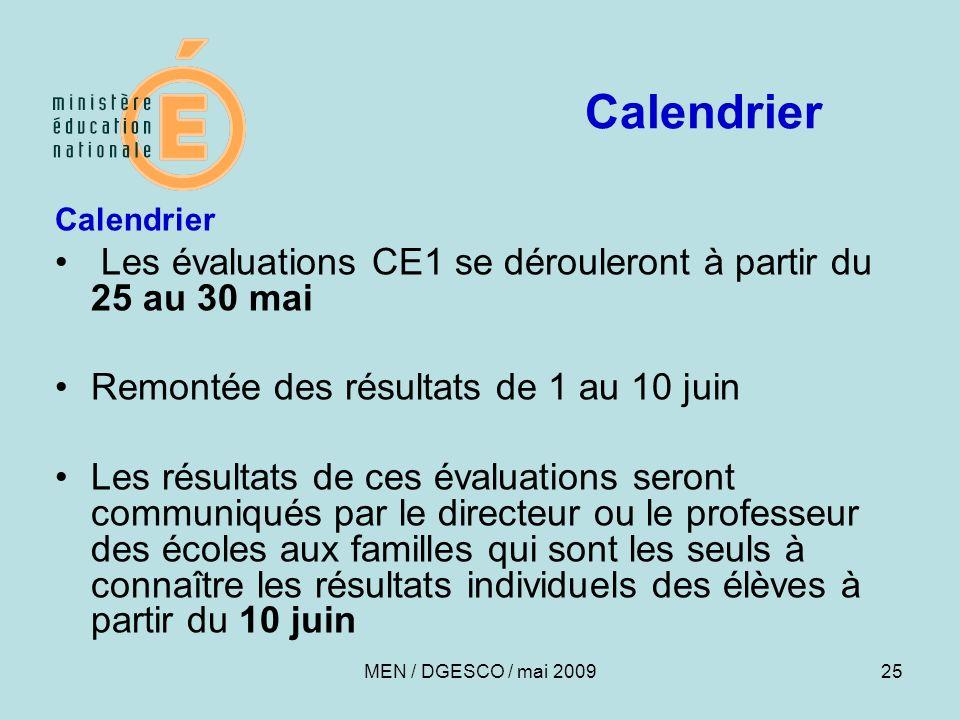 Calendrier Les évaluations CE1 se dérouleront à partir du 25 au 30 mai