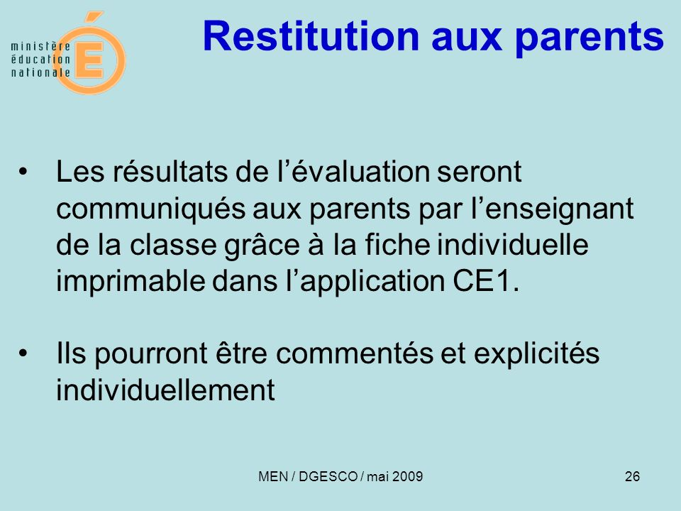 Restitution aux parents