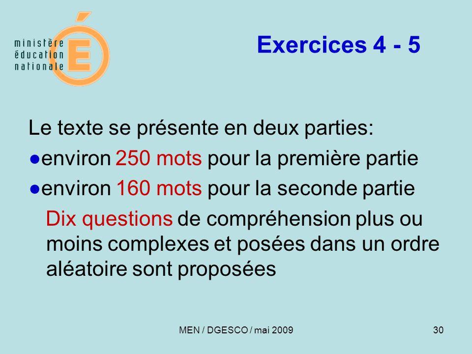 Exercices 4 - 5 Le texte se présente en deux parties: