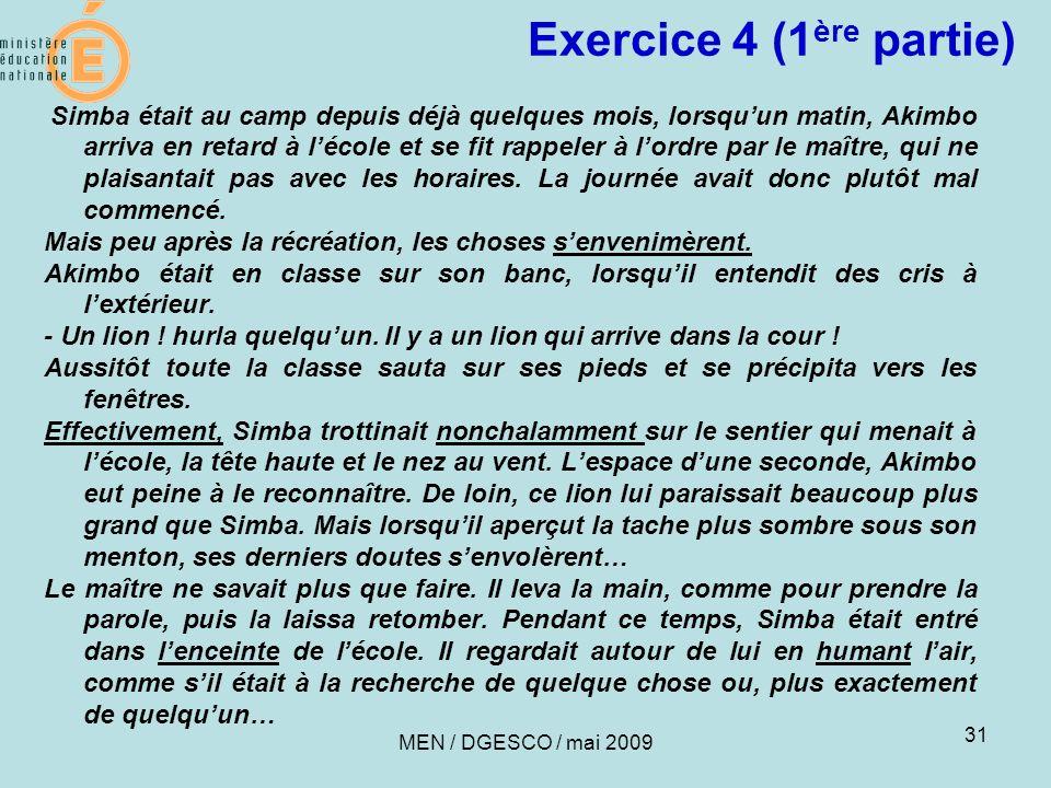 Exercice 4 (1ère partie)