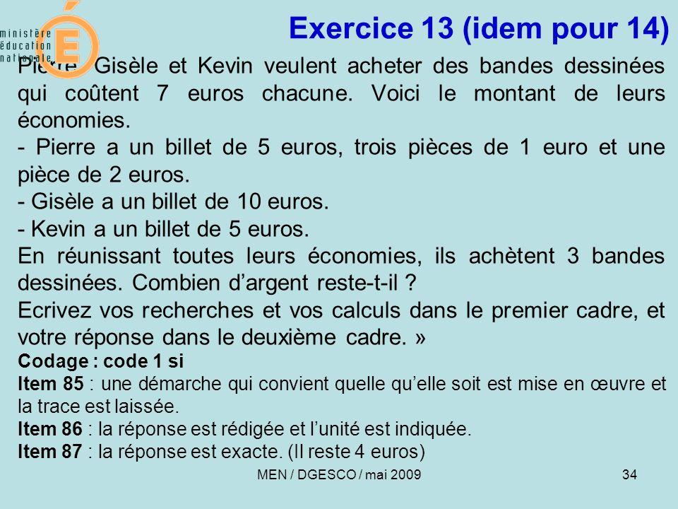 Exercice 13 (idem pour 14)