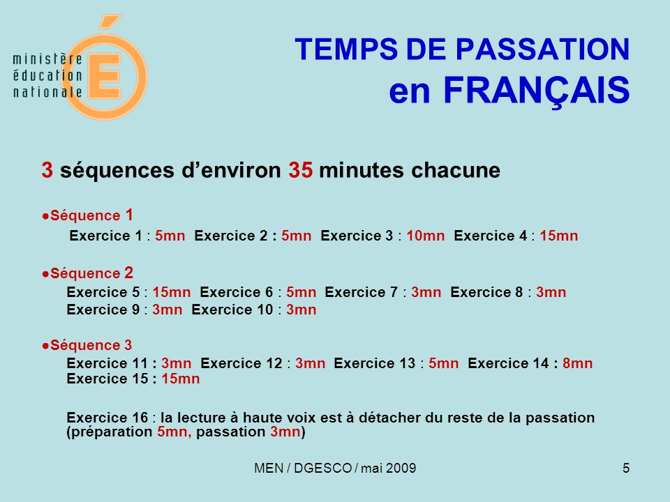 TEMPS DE PASSATION en FRANÇAIS