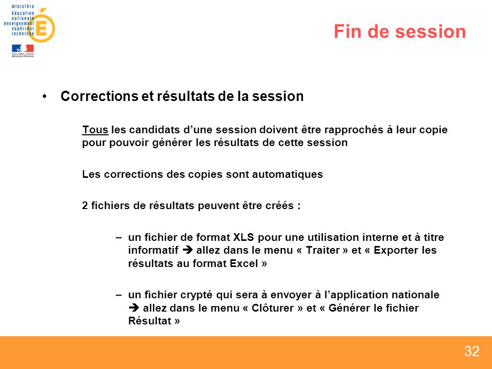Fin de session Corrections et résultats de la session