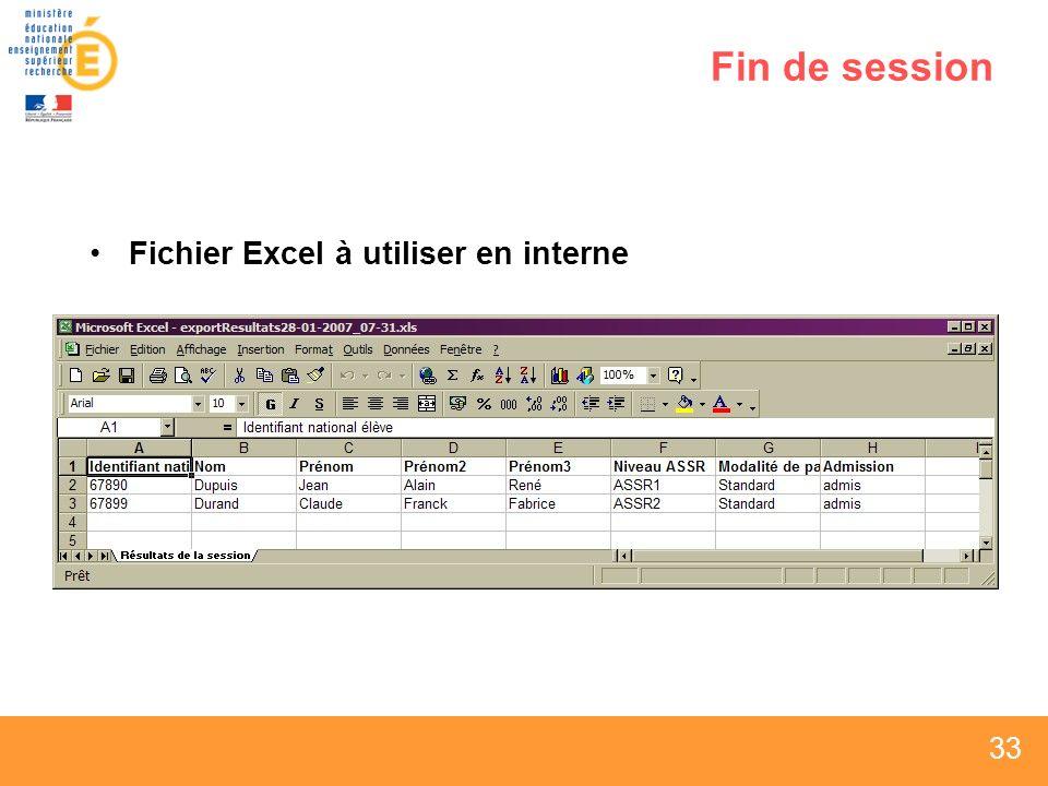 Fin de session Fichier Excel à utiliser en interne