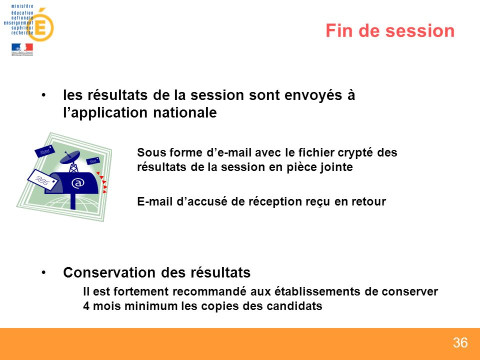 Fin de session les résultats de la session sont envoyés à l'application nationale.