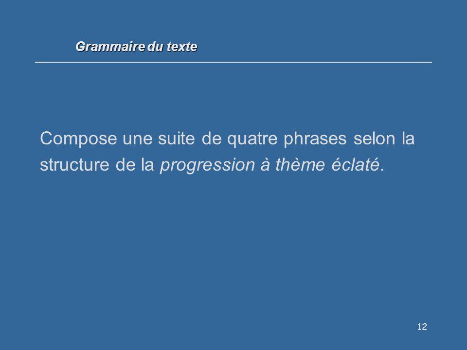 Grammaire du texte Compose une suite de quatre phrases selon la structure de la progression à thème éclaté.
