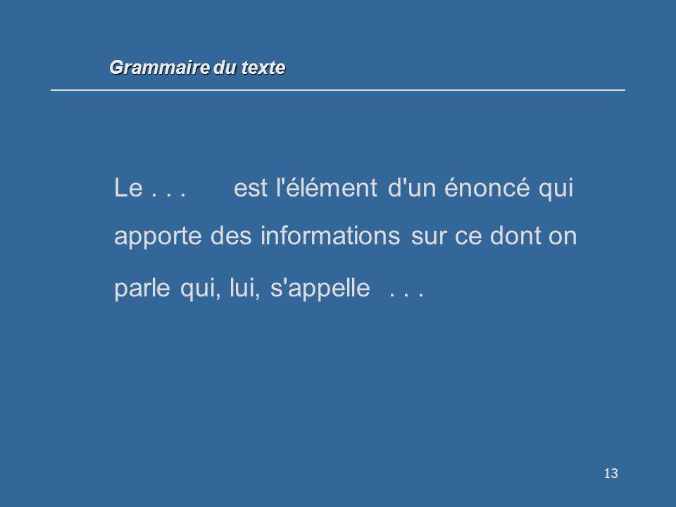 Grammaire du texte Le .