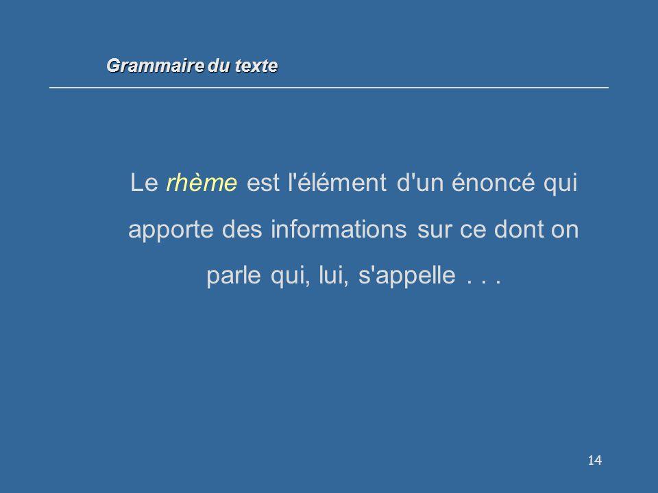 Grammaire du texte Le rhème est l élément d un énoncé qui apporte des informations sur ce dont on parle qui, lui, s appelle . . .