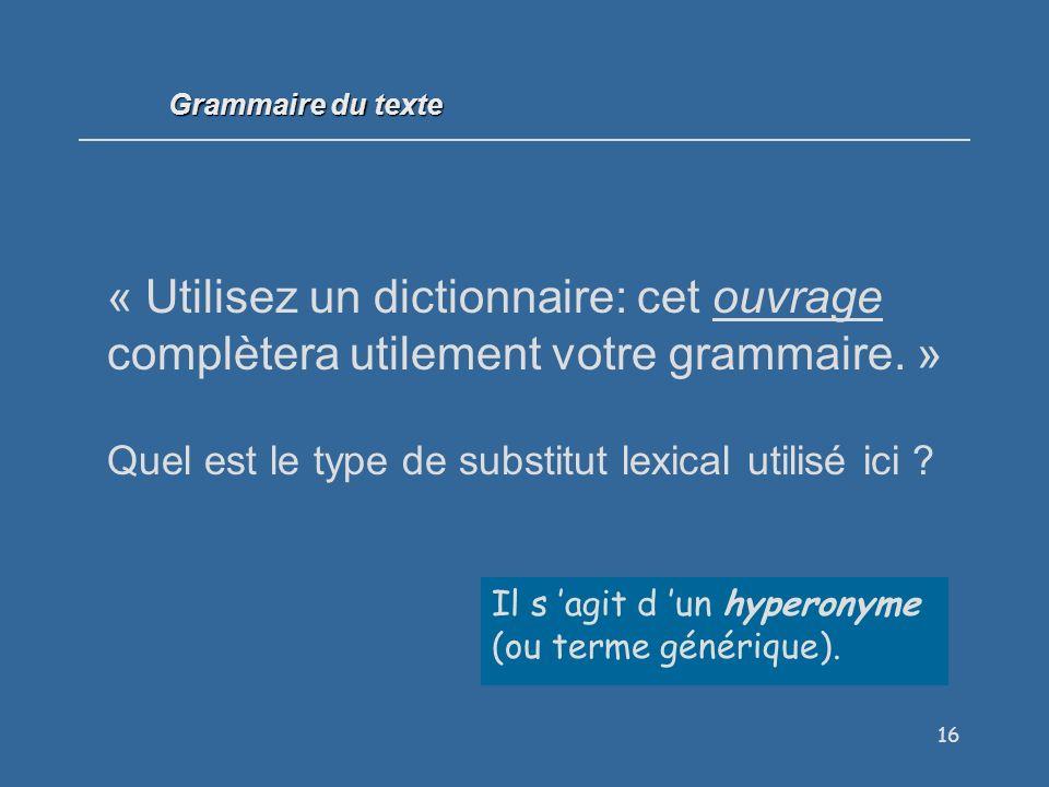 Grammaire du texte « Utilisez un dictionnaire: cet ouvrage complètera utilement votre grammaire. »