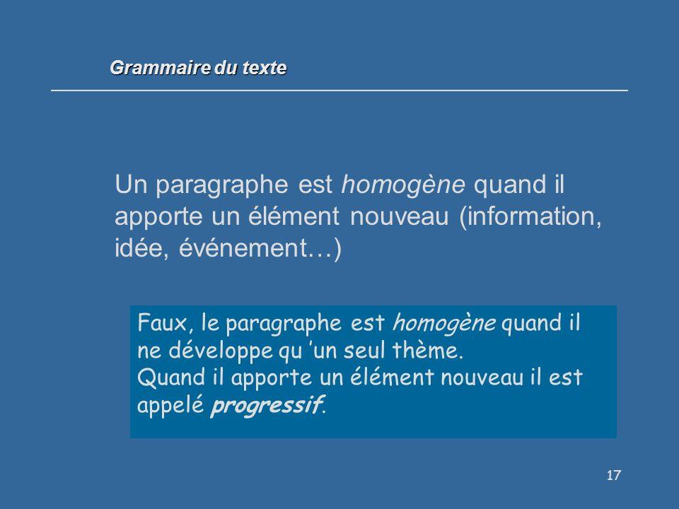 Grammaire du texte Un paragraphe est homogène quand il apporte un élément nouveau (information, idée, événement…)