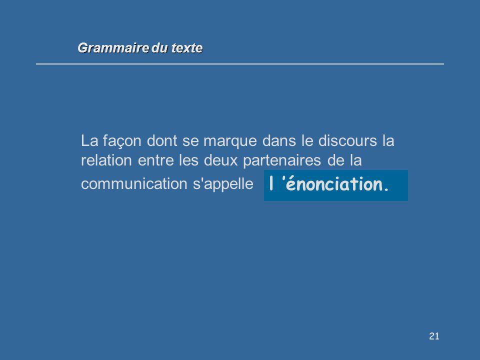 Grammaire du texte La façon dont se marque dans le discours la relation entre les deux partenaires de la communication s appelle . . .