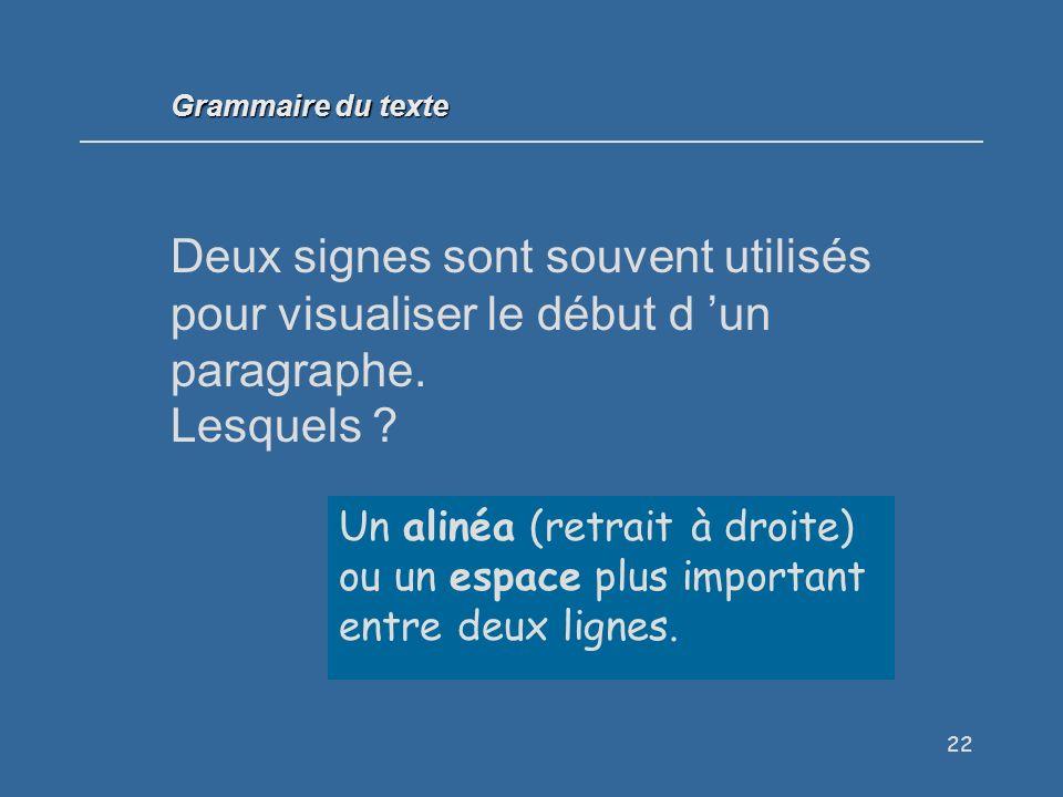 Grammaire du texte Deux signes sont souvent utilisés pour visualiser le début d 'un paragraphe. Lesquels