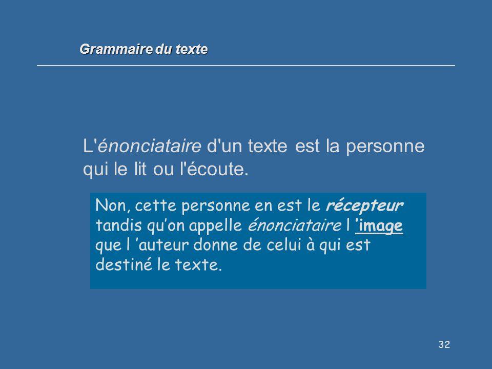 L énonciataire d un texte est la personne qui le lit ou l écoute.