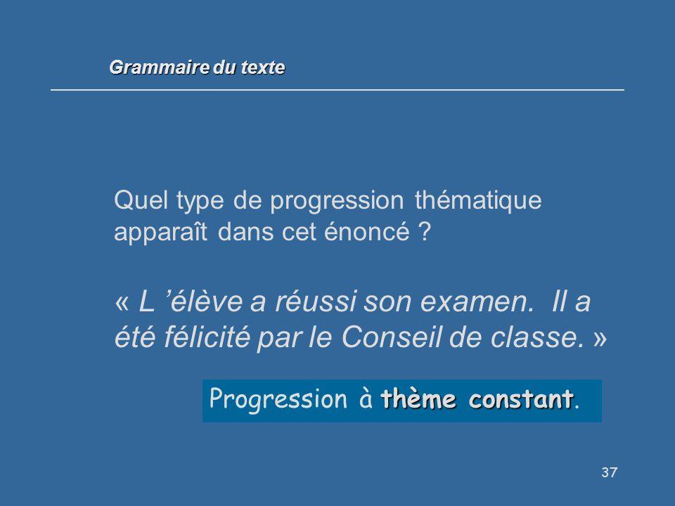 Grammaire du texte Quel type de progression thématique apparaît dans cet énoncé