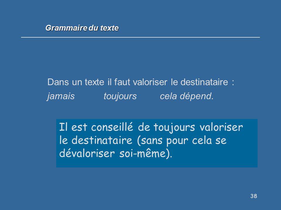 Grammaire du texte Dans un texte il faut valoriser le destinataire : jamais toujours cela dépend.