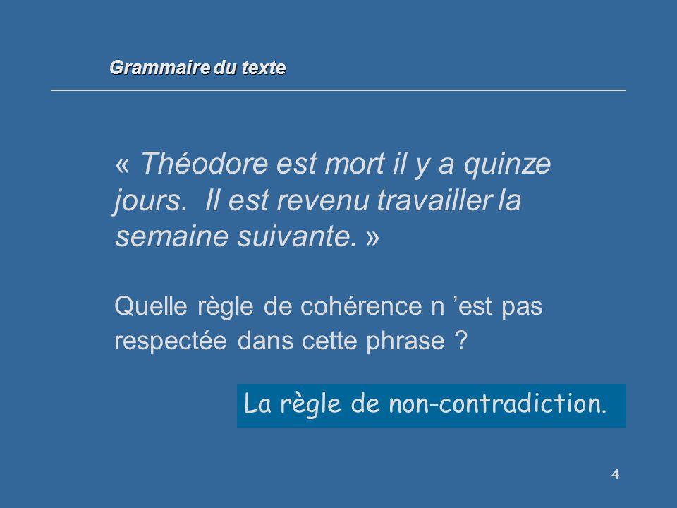 Grammaire du texte « Théodore est mort il y a quinze jours. Il est revenu travailler la semaine suivante. »