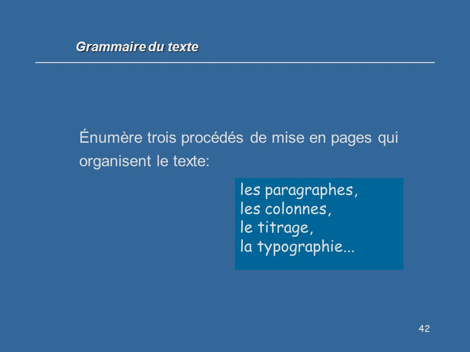 Énumère trois procédés de mise en pages qui organisent le texte: