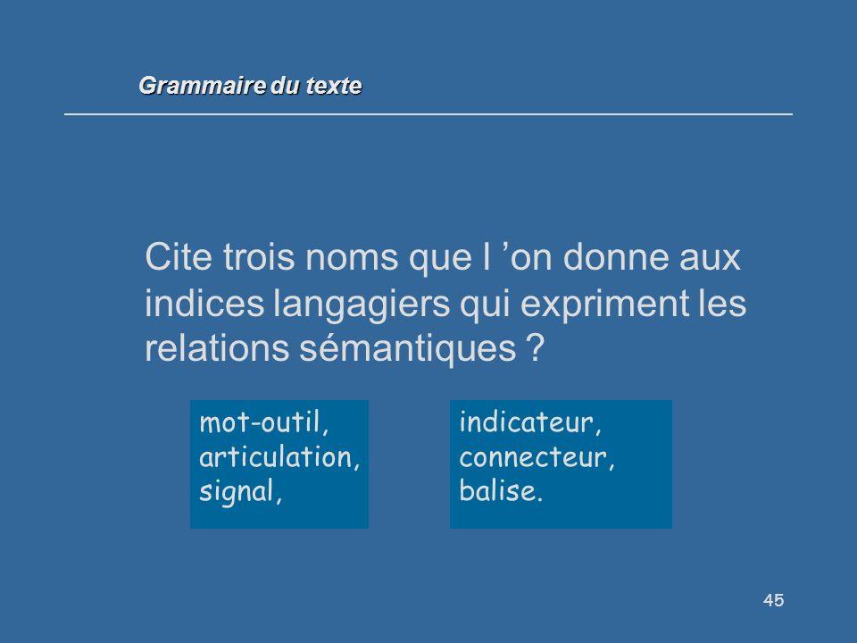 Grammaire du texte Cite trois noms que l 'on donne aux indices langagiers qui expriment les relations sémantiques