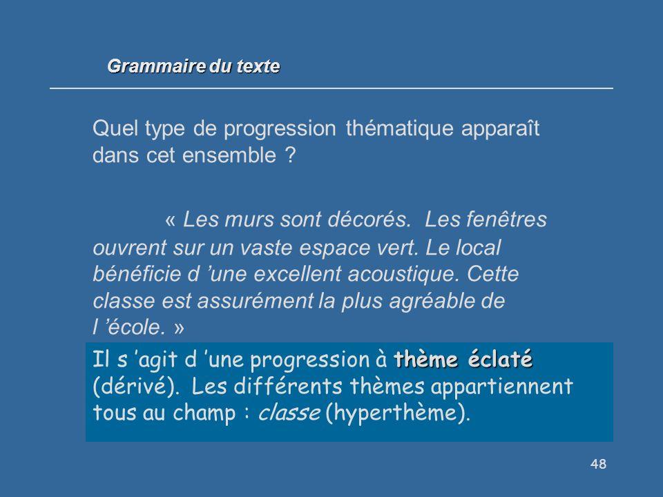 Grammaire du texte Quel type de progression thématique apparaît dans cet ensemble