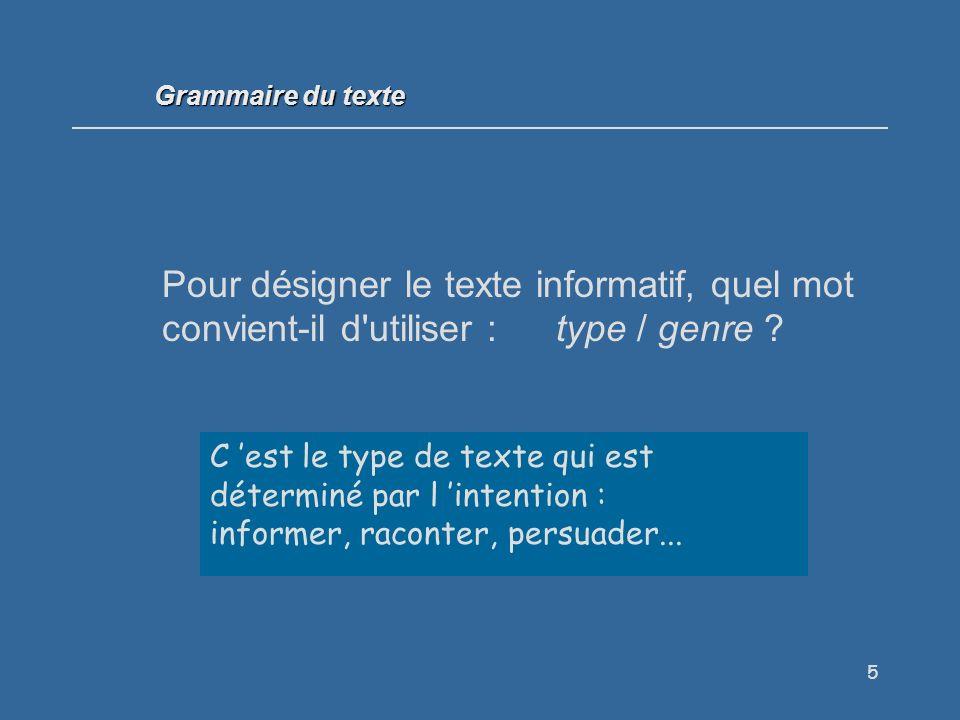 Grammaire du texte Pour désigner le texte informatif, quel mot convient-il d utiliser : type / genre