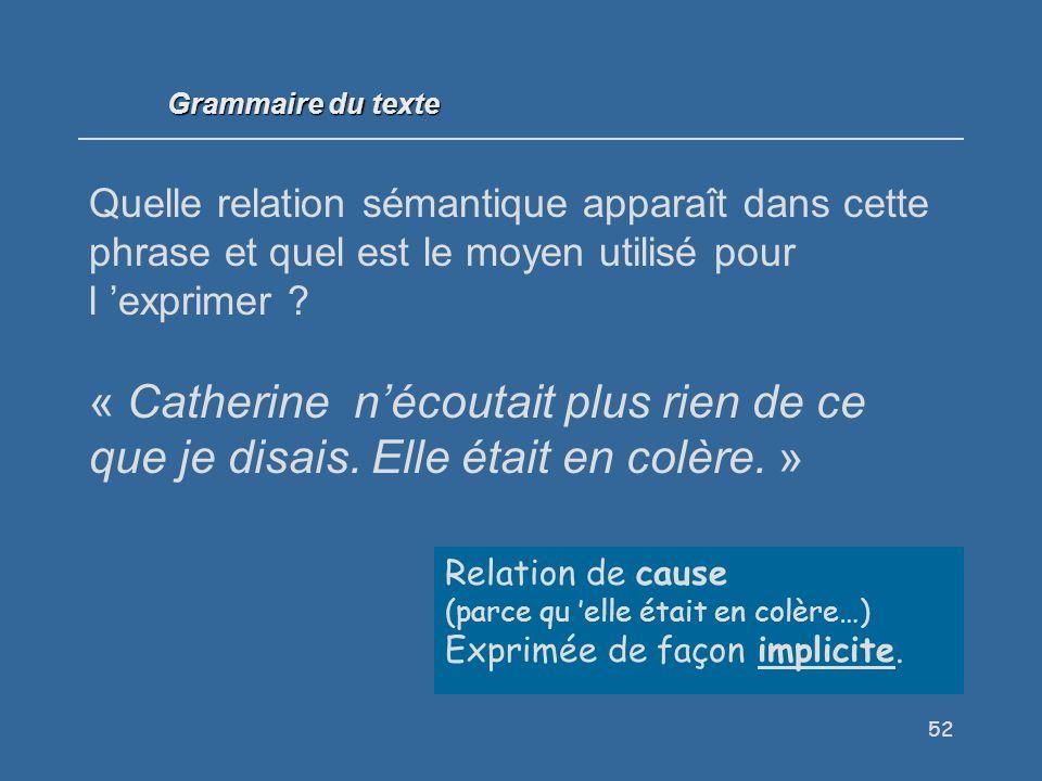 Grammaire du texte Quelle relation sémantique apparaît dans cette phrase et quel est le moyen utilisé pour l 'exprimer