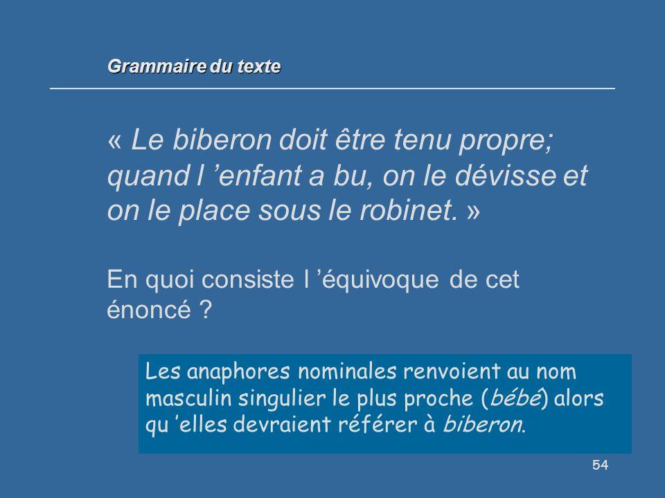 Grammaire du texte « Le biberon doit être tenu propre; quand l 'enfant a bu, on le dévisse et on le place sous le robinet. »