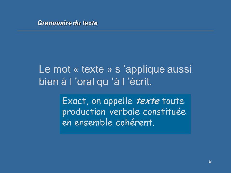 Le mot « texte » s 'applique aussi bien à l 'oral qu 'à l 'écrit.