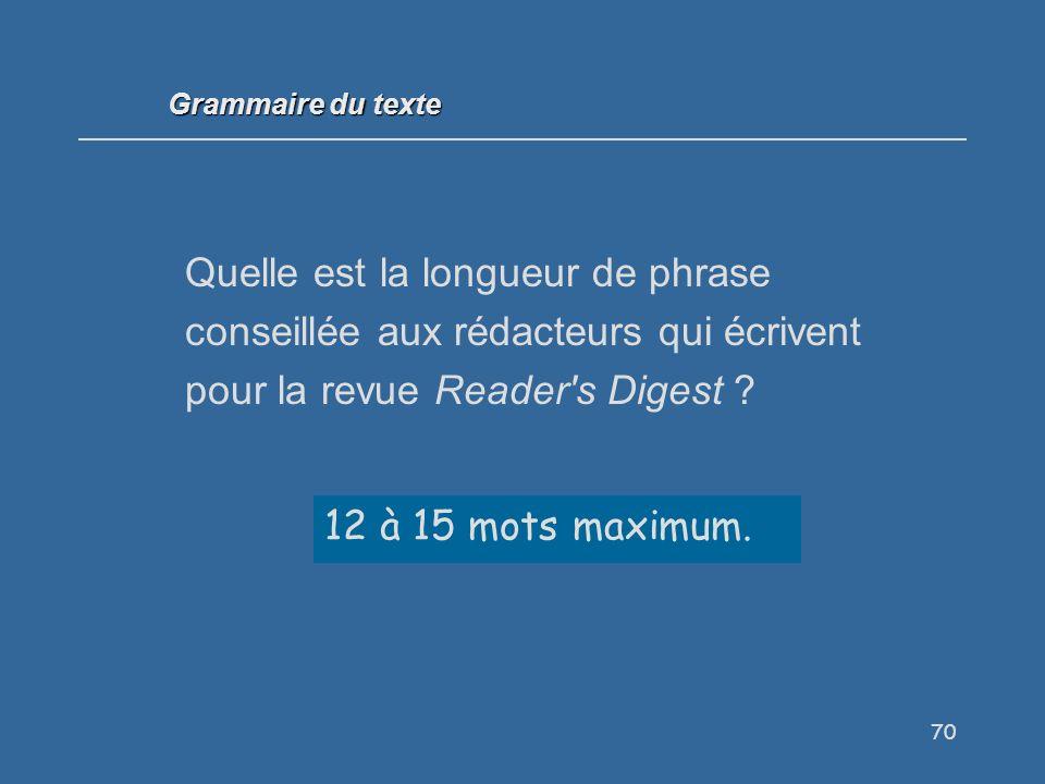 Grammaire du texte Quelle est la longueur de phrase conseillée aux rédacteurs qui écrivent pour la revue Reader s Digest
