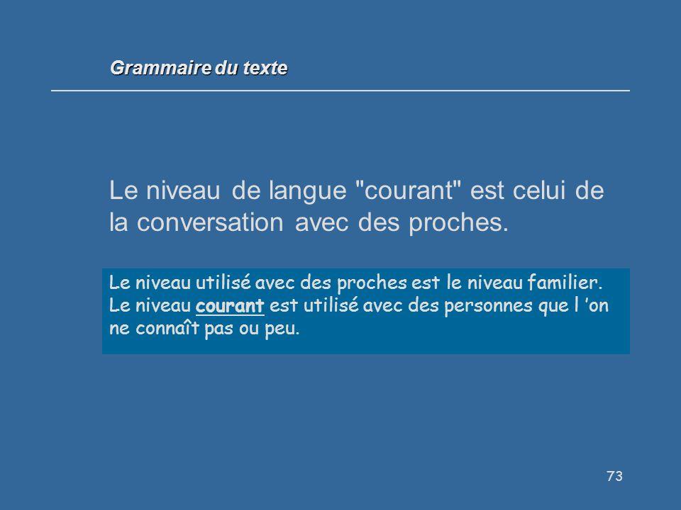 Grammaire du texte Le niveau de langue courant est celui de la conversation avec des proches. Vrai / Faux