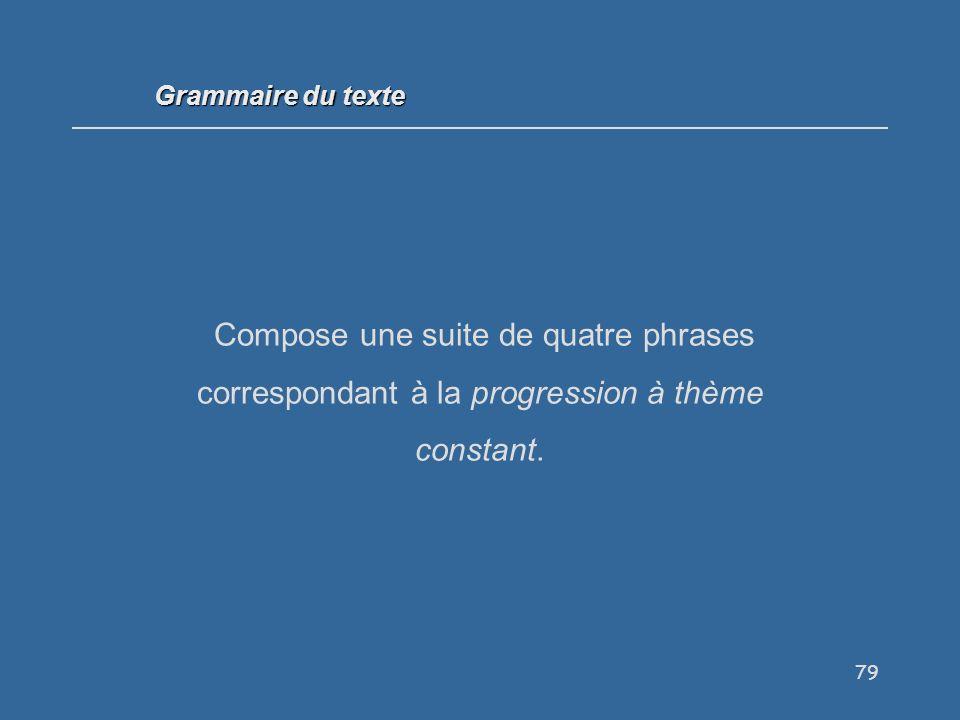 Grammaire du texte Compose une suite de quatre phrases correspondant à la progression à thème constant.