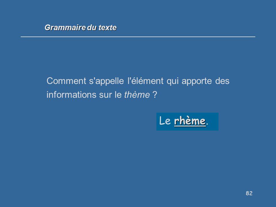Grammaire du texte Comment s appelle l élément qui apporte des informations sur le thème .