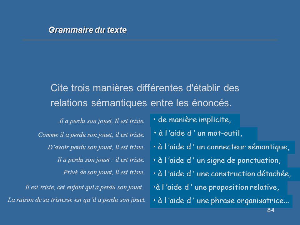 Grammaire du texte Cite trois manières différentes d établir des relations sémantiques entre les énoncés.