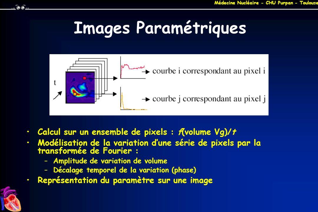 Images Paramétriques Calcul sur un ensemble de pixels : f(volume Vg)/t