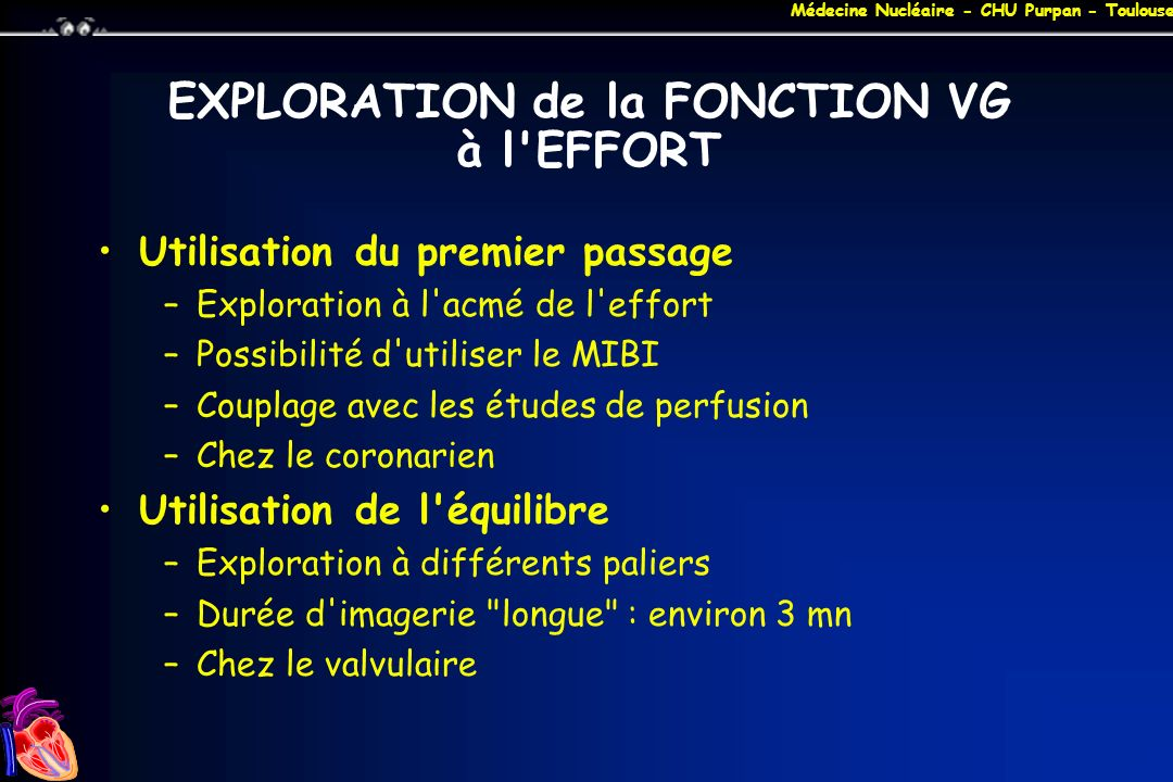 EXPLORATION de la FONCTION VG à l EFFORT