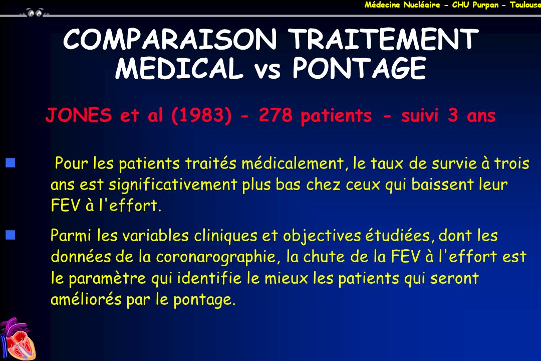 COMPARAISON TRAITEMENT MEDICAL vs PONTAGE