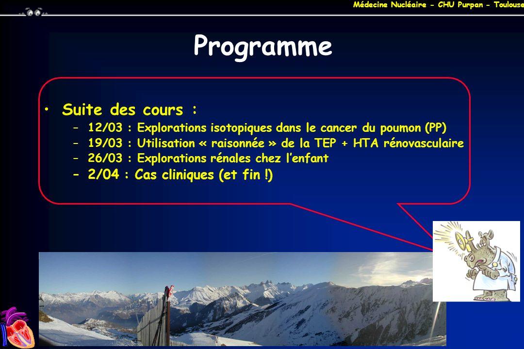 Programme Suite des cours : 2/04 : Cas cliniques (et fin !)
