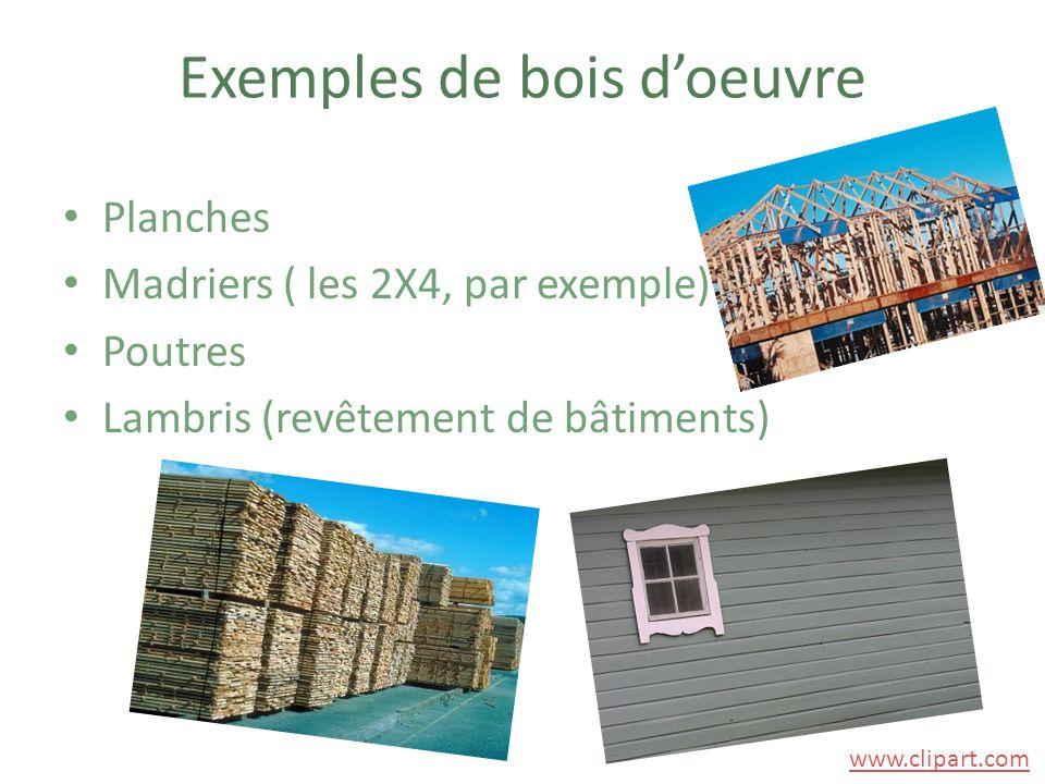 Exemples de bois d'oeuvre