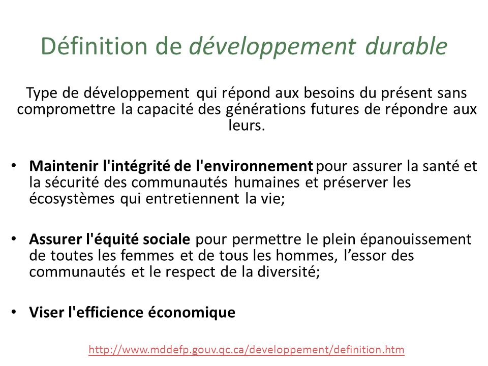 Définition de développement durable