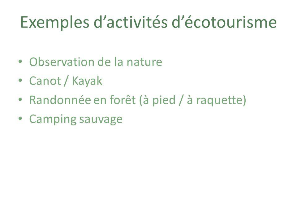 Exemples d'activités d'écotourisme