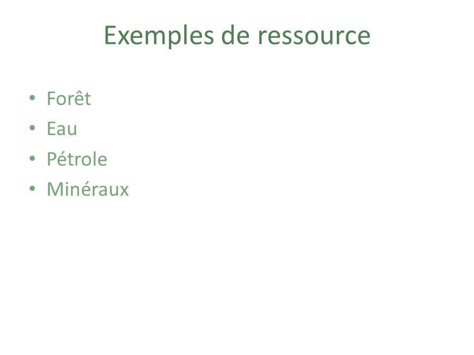 Exemples de ressource Forêt Eau Pétrole Minéraux