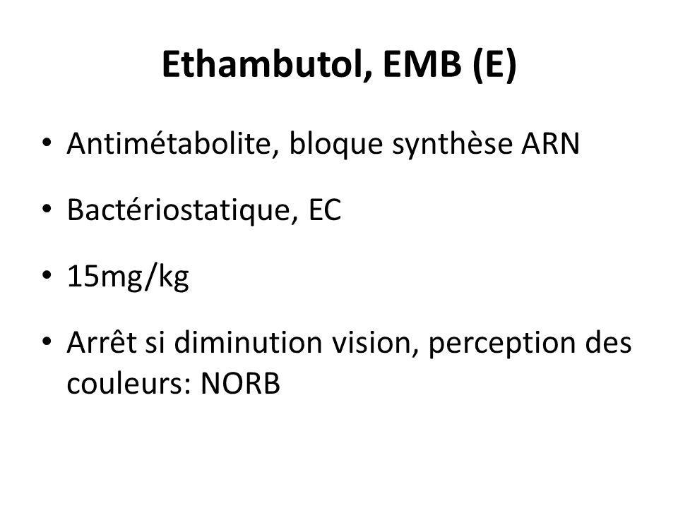 Ethambutol, EMB (E) Antimétabolite, bloque synthèse ARN