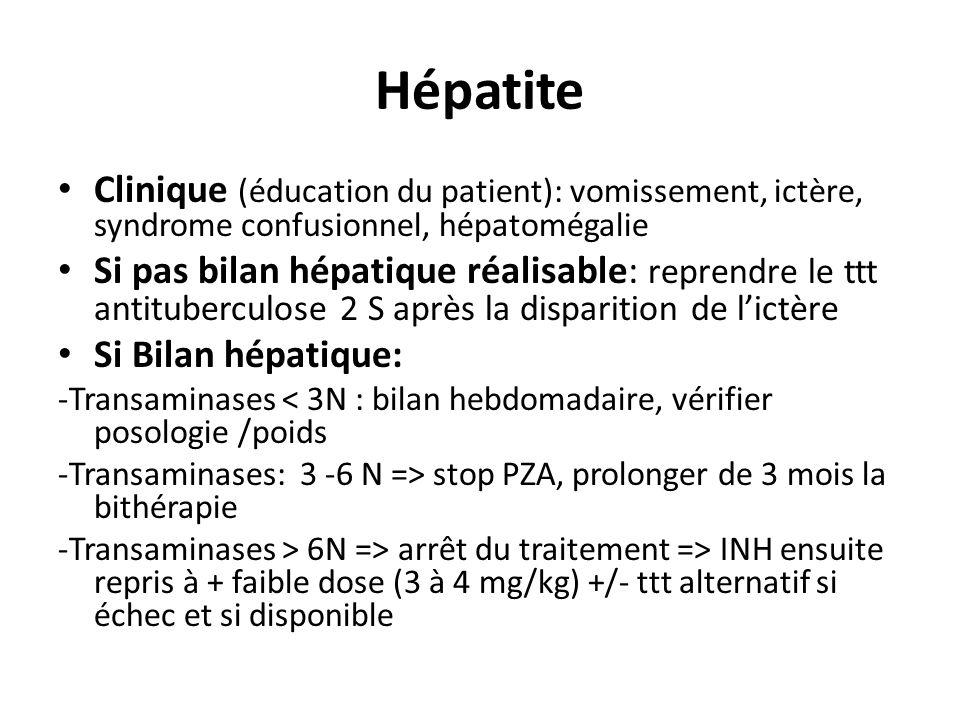 Hépatite Clinique (éducation du patient): vomissement, ictère, syndrome confusionnel, hépatomégalie.