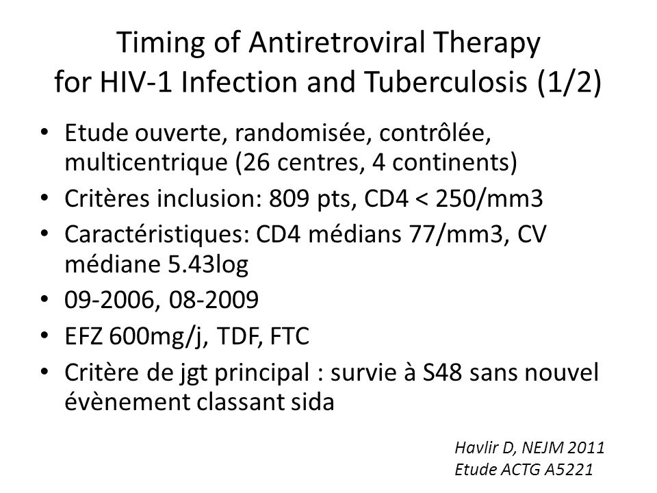 Timing of Antiretroviral Therapy for HIV-1 Infection and Tuberculosis (1/2)