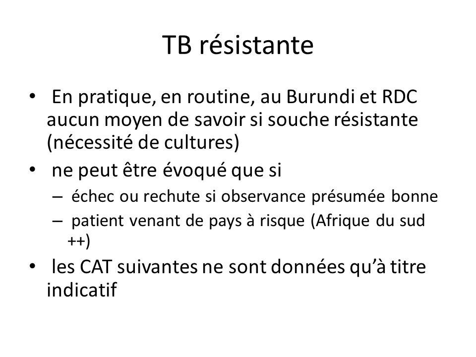 TB résistante En pratique, en routine, au Burundi et RDC aucun moyen de savoir si souche résistante (nécessité de cultures)