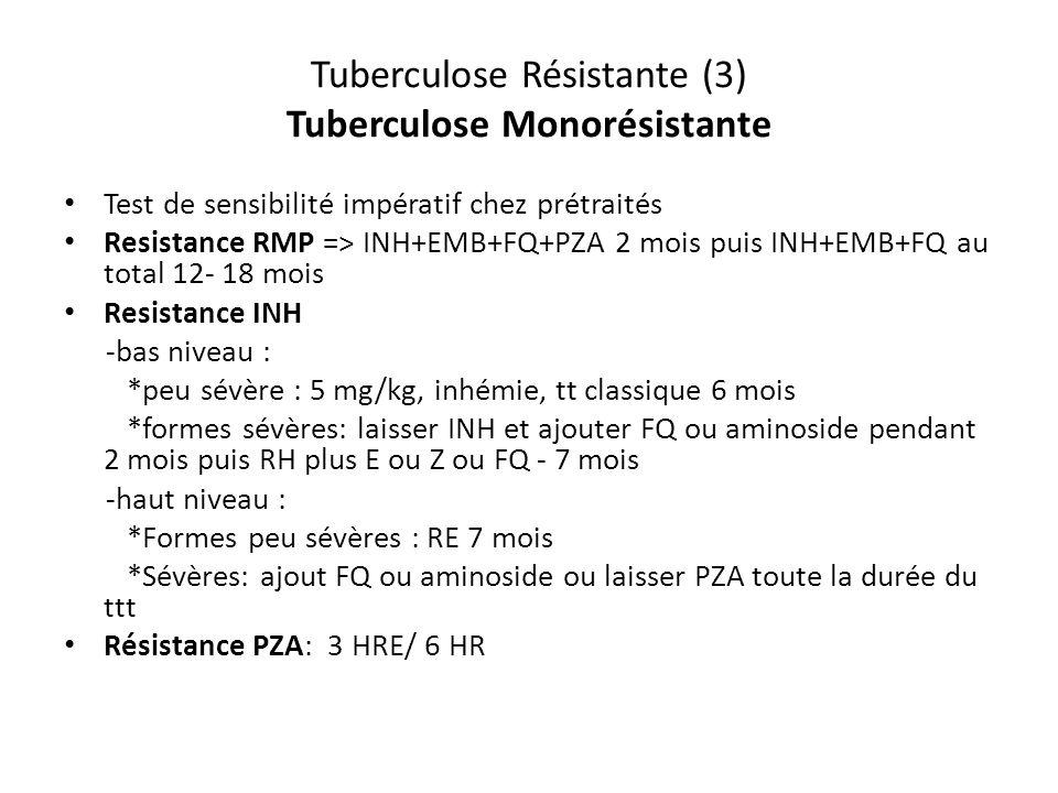 Tuberculose Résistante (3) Tuberculose Monorésistante