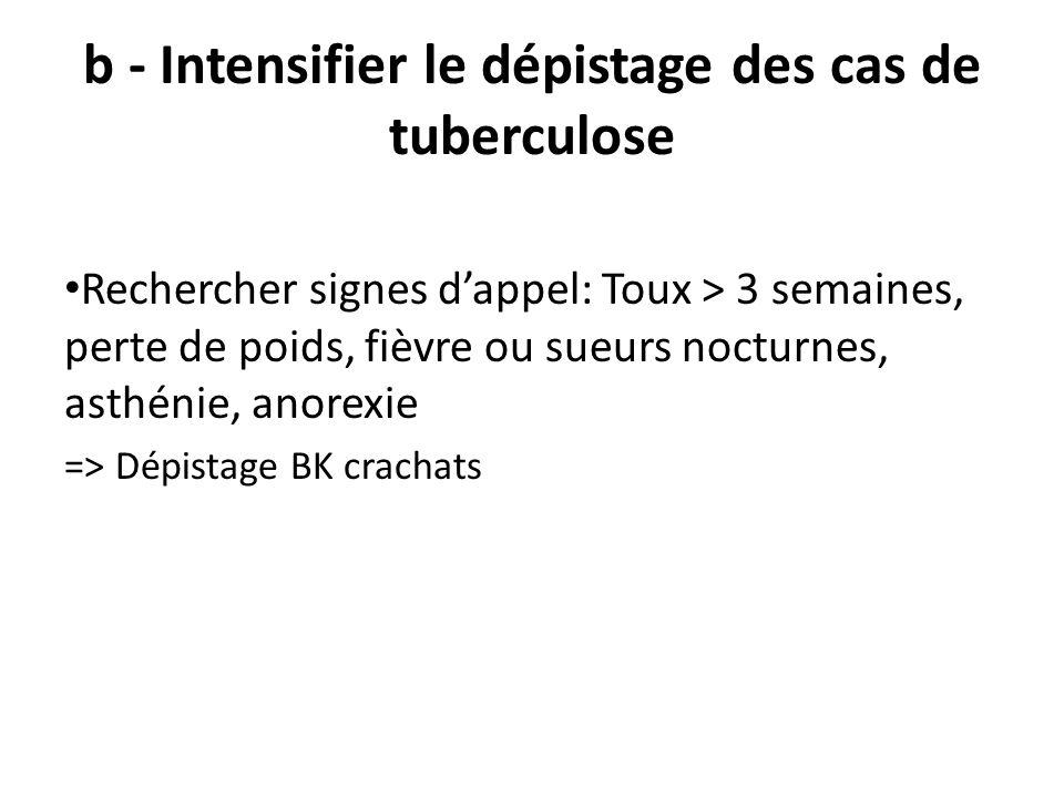 b - Intensifier le dépistage des cas de tuberculose