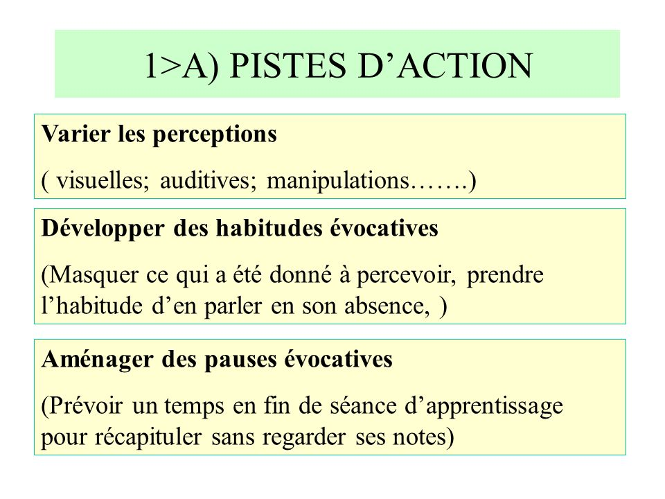 1>A) PISTES D'ACTION