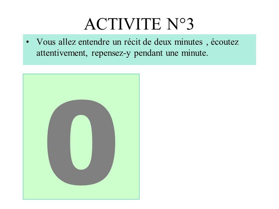 ACTIVITE N°3 Vous allez entendre un récit de deux minutes , écoutez attentivement, repensez-y pendant une minute.
