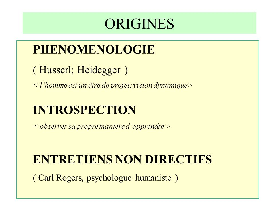 ORIGINES PHENOMENOLOGIE INTROSPECTION ENTRETIENS NON DIRECTIFS